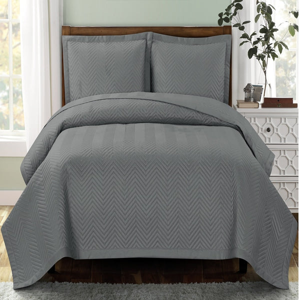 Sophisticated Chervon Reversible Lightweight Microfiber Solid Mini Coverlet Set; Includes Quilt & Coordinating Shams