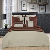 7-8pc Astrid 100% Microfiber (Black, Gold, Sage, or Navy) Embroidered Duvet Cover Set; Includes Duvet Cover, Coordinating Shams, and Decorative Pillows