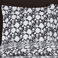 Agnes 300 Thread Count 100% Cotton Black and White Floral Duvet Cover Set; Includes Duvet Cover and Coordinating Shams