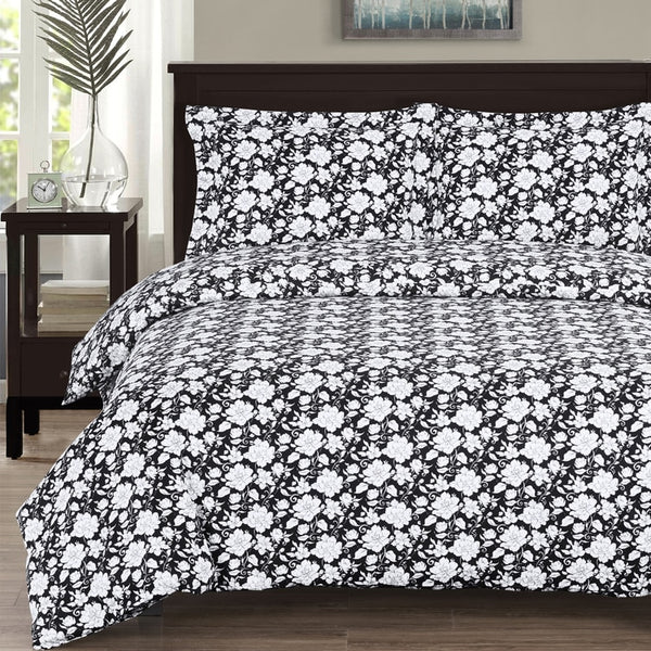 (Split King)-Agnes 300 Thread Count 100% Cotton Black and White Floral Bed in a Bag Set; Includes Duvet Cover, Coordinating Shams, Matching Flat Sheet, Matching Fitted Sheets, Matching Pillowcases, & Down Alternative Comforter