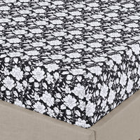 Agnes 300 Thread Count 100% Cotton Black and White Floral Bed in a Bag Set; Includes Duvet Cover, Coordinating Shams, Matching Flat Sheet, Matching Fitted Sheet, Matching Pillowcases, & Down Alternative Comforter