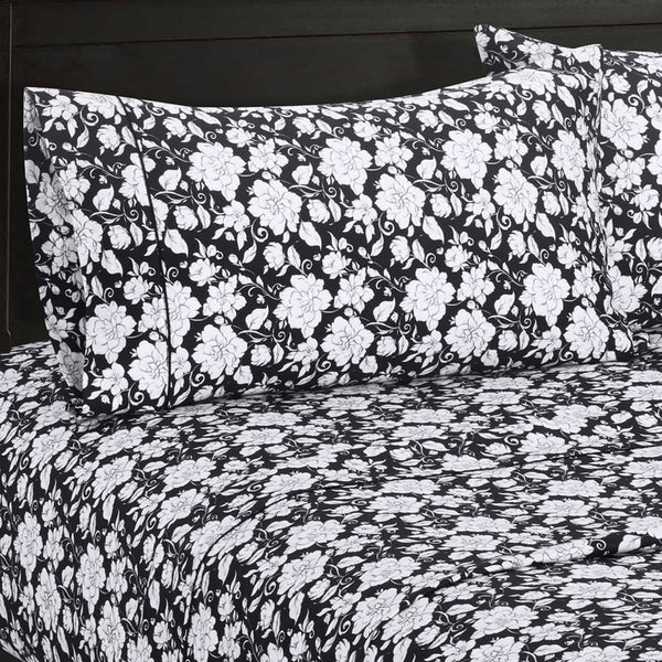 300 Thread Count 100% Cotton Agnes Bedding; Black and White Floral Bed Sheet Sets; Includes Flat Sheet, Fitted Sheet, & Coordinating Pillowcases