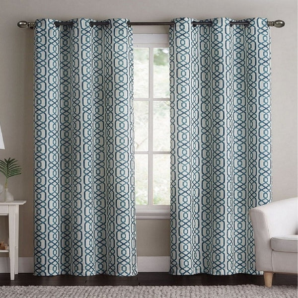 Geometric Alexander Blackout Weave Window Curtain Panels With Grommets (Pair)