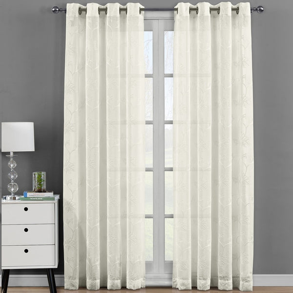 Elegant Andora Embroidered Grommet Top Sheer Panel Curtain Set-(Set of 2)