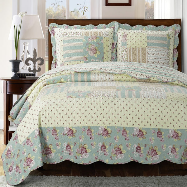 (Split King)-Elegant and Contemporary Annabel Quilt/Coverlet Bed in a Bag; Exquisite Bed Ensemble Includes Printed Oversize Quilt/Coverlet Coordinating Shams, White Flat Sheet, White Fitted Sheets, and White Pillowcases