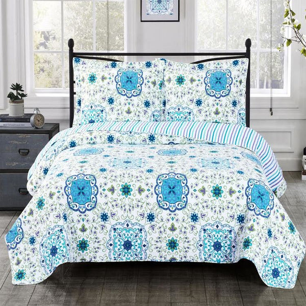 (Split King)-Elegant and Contemporary Arielle Quilt/Coverlet Bed in a Bag; Exquisite Bed Ensemble Includes Printed Oversize Quilt/Coverlet Coordinating Shams, White Flat Sheet, White Fitted Sheets, and White Pillowcases