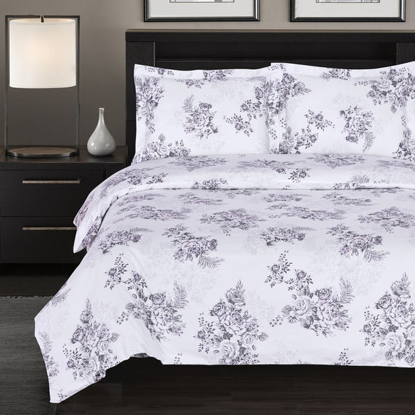 Bally 300 Thread Count 100% Cotton Lavender and White Floral Duvet Cover Set; Includes Duvet Cover and Coordinating Shams