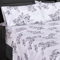 Bally 300 Thread Count 100% Cotton White and Lavender Floral Bed in a Bag; Includes Duvet Cover, Coordinating Shams, Matching Flat Sheet, Matching Fitted Sheet, Matching Pillowcases, & Down Alternative Comforter