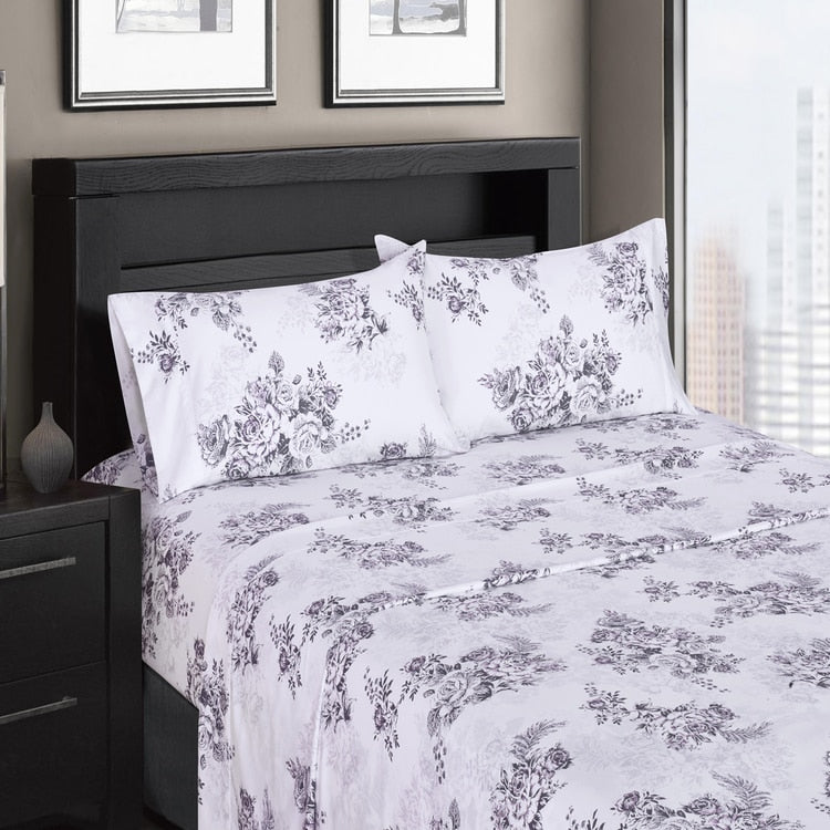 Bally 300 Thread Count 100 Cotton Floral Bedding White And Lavender Comfort Linens