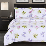 300 Thread Count 100% Cotton Blossom Reversible Duvet Cover Set; Includes Duvet Cover and Coordinating Shams