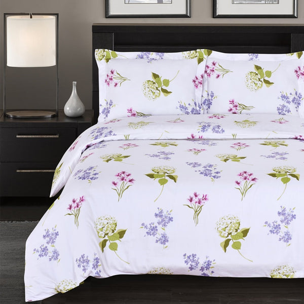Blossom 300 Thread Count 100% Cotton Floral Bed in a Bag Bedding Set; Includes Duvet Cover, Coordinating Shams, Matching Flat Sheet, Matching Fitted Sheet, Matching Pillowcases, & Down Alternative Comforter