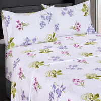 (Split King)-Blossom 300 Thread Count 100% Cotton Floral Bed in a Bag; Includes Duvet Cover, Coordinating Shams, Matching Flat Sheet, Matching Fitted Sheets, Matching Pillowcases, & Down Alternative Comforter