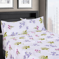 300 Thread Count 100% Cotton Blossom Bedding; Lavender, Pink, and Sage Floral Bed Sheet Sets; Includes Flat Sheet, Fitted Sheet, & Coordinating Pillowcases
