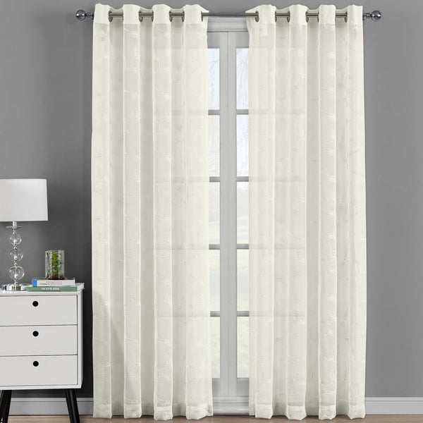 Elegant Brook Embroidered Grommet Top Sheer Panel Curtain Set-(Set of 2 )