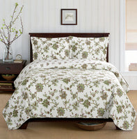 Tranquilizing Carrie Floral Pattern Quilted Coverlet Mini Bed Quilt Set; Includes Quilt & Coordinating Shams