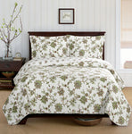 (Split King)-Elegant and Contemporary Carrie Quilt/Coverlet Bed in a Bag; Exquisite Bed Ensemble Includes Printed Oversize Quilt/Coverlet Coordinating Shams, White Flat Sheet, White Fitted Sheets, and White Pillowcases
