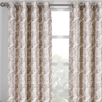 Relaxing Catalina Leaf Swirl Jacquard Curtain Panels Grommet Top (Set of 2)
