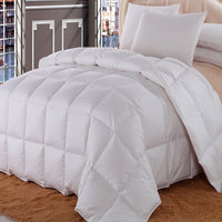 300TC 100% Cotton White Checkered Duck Down Comforter-550 Fill Power All Season Duvet Insert
