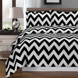 Chevron 250 Thread Count 100% Combed Cotton (Black, White, or Yellow) Duvet Cover Set; Includes Duvet Cover Set and Coordinating Shams