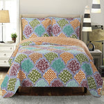 Vibrant Dahlia Reversible Floral Bed Quilt Sets; Hypoallergenic 100% Microfiber; Includes Quilt & Coordinating Shams