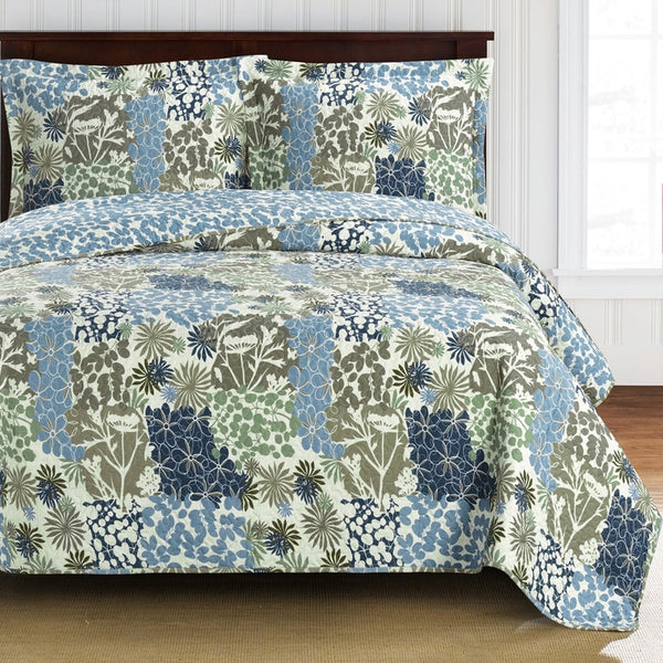 (Split King)-Elegant and Contemporary Elena Quilt/Coverlet Bed in a Bag; Exquisite Bed Ensemble Includes Printed Oversize Quilt/Coverlet Coordinating Shams, White Flat Sheet, White Fitted Sheets, and White Pillowcases