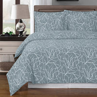 Ema 250 Thread Count 100% Combed Cotton Bare Branch Duvet Cover Set; Includes Duvet Cover and Coordinating Shams