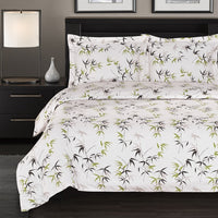 300 Thread Count 100% Cotton Fern Duvet Cover Set; Includes Duvet Cover and Coordinating Shams