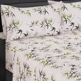 (Split King)- Fern 300 Thread Count 100% Cotton Floral Bed in a Bag; Includes Duvet Cover, Coordinating Shams, Matching Flat Sheet, Matching Fitted Sheet, Matching Pillowcases, & Down Alternative Comforter