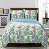 (Split King)-Elegant and Contemporary Freya Quilt/Coverlet Bed in a Bag; Exquisite Bed Ensemble Includes Printed Oversize Quilt/Coverlet Coordinating Shams, White Flat Sheet, White Fitted Sheets, and White Pillowcases