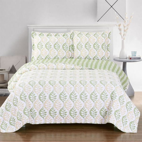 Cool Toned Gia floral Quilted Coverlet Oversized in Twin, Queen Or King Size; Includes Quilt & Coordinating Shams