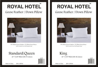 Goose Feather and White Down Pillows; 240TC 100% Cotton Shell (Set of 2)