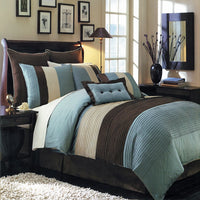 Sophisticated Hudson 6-8 Piece Blue & Brown Polyester Complete Comforter Set; Includes Comforter, Coordinating Shams, Decorative Pillows, & Decorative Bed Skirt