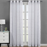 Elegant Harvard Embroidered Grommet Top Sheer Panel Curtains Pair (Set of 2 )