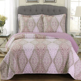 (Split King)-Elegant and Contemporary Jewel Quilt/Coverlet Bed in a Bag; Exquisite Bed Ensemble Includes Printed Oversize Quilt/Coverlet Coordinating Shams, White Flat Sheet, White Fitted Sheets, and White Pillowcases