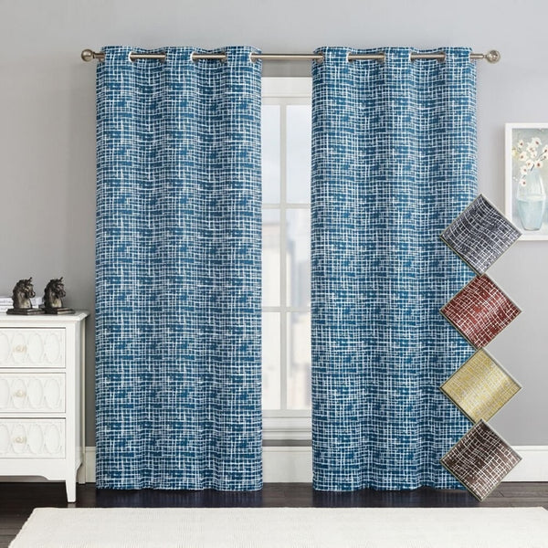 Contemporary Lenox Thermal Room Darkening Grommet Top Curtain Panels (Set of 2)