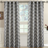 Relaxing Lisette Chevron Jacquard Curtain Panels Grommet Top (Set of 2)