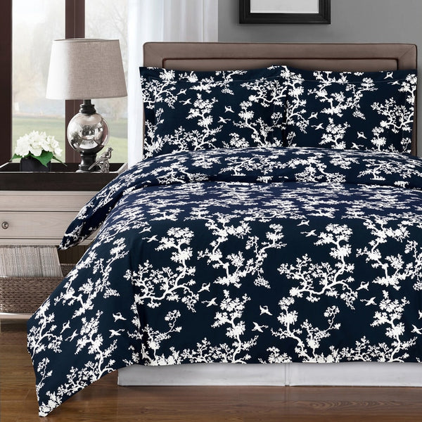 Lucy 250 Thread Count 100% Cotton Navy and White Trees Duvet Cover Set; Includes Duvet Cover and Coordinating Shams