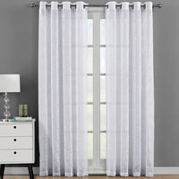 Elegant Melanie Embroidered Grommet Top Sheer Panel Curtain (Set of 2)