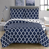 (Split King)-Elegant and Contemporary Meridian Quilt/Coverlet Bed in a Bag; Exquisite Bed Ensemble Includes Printed Oversize Quilt/Coverlet Coordinating Shams, White Flat Sheet, White Fitted Sheets, and White Pillowcases
