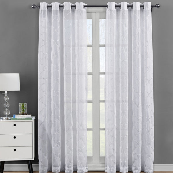Pair of Elegant Miller Embroidered Grommet Top Sheer Panel Curtains-(Set of 2)
