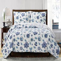 Ravishing Miranda Solid With Spring Floral Print Microfiber Quilted Coverlet Set; Includes Quilt & Coordinating Shams