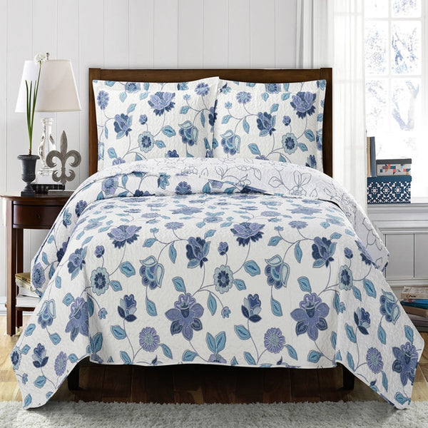 Elegant and Contemporary Miranda Quilt/Coverlet Bed in a Bag; Includes Quilt, Coordinating Shams, White Flat Sheet, White Fitted Sheet, and White Pillowcases