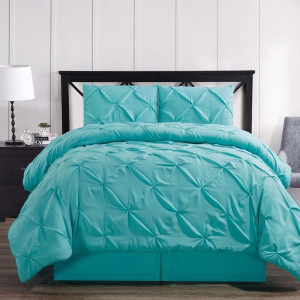 3-4 Pc Aqua Oxford Luxuriously Soft Pinch Pleated Microfiber Comforter Set; Includes Comforter, Coordinating Shams, & Decorative Bed Skirt