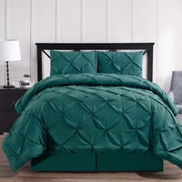 3-4 Pc Teal Oxford Luxuriously Soft Pinch Pleated Microfiber Comforter Set; Includes Comforter, Coordinating Shams, & Decorative Bed Skirt