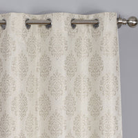Elegant Paisley Thermal Blackout Jacquard Grommet Top Curtain Panels Pair