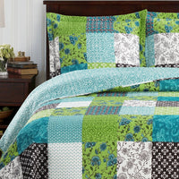 Bright Rebekah Spring Garden Style Oversized Quilt Set Wrinkle-Free Coverlet Set; Includes Geometric Quilt & Coordinating Shams