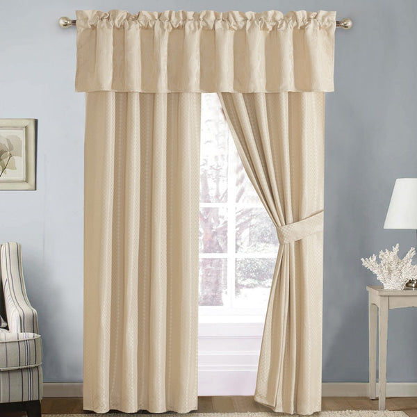 "Simple Sara 5 Piece Lined Jacquard Curtain Panel Set 84""Wx84""L"
