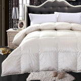 450TC 51% Silk-49% Cotton Cream Striped Goose Down Comforter-550 Fill Power Extra Warmth Duvet Insert