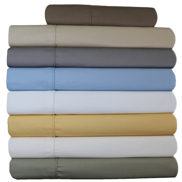 Wrinkle-Free 650TC 70% Cotton-30% Polyester Solid Bedding; Adjustable Bed Sheet Sets; Includes Flat Sheet, Fitted Sheets, & Coordinating Pillowcases