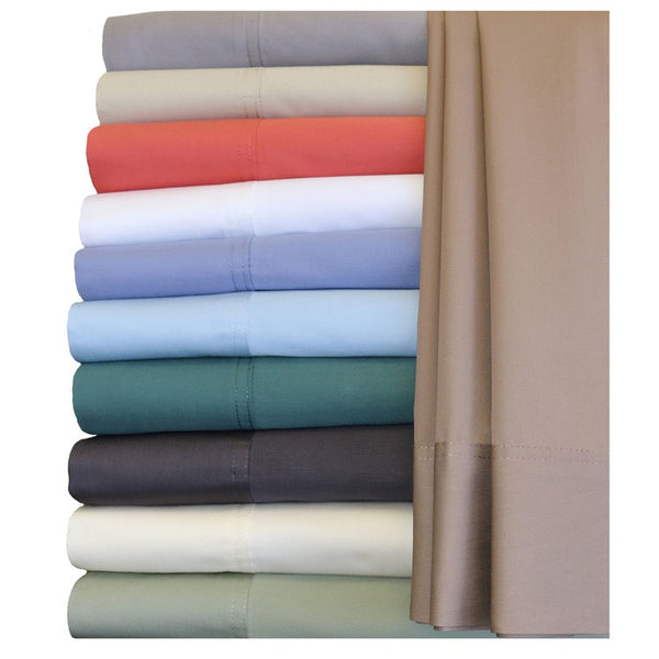 300TC 60% Bamboo-40%Cotton Blended Solid Adjustable Bed Sheet Sets (Hybrid); Includes Flat Sheet, Fitted Sheet, & Coordinating Pillowcases